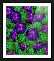 blooming rose texture pattern abstract background in purple and green Picture Frame print
