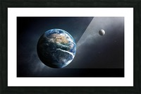 Earth and moon space view Picture Frame print