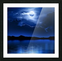 Fantasy Moon and Clouds over water Picture Frame print