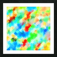 psychedelic geometric pixel abstract pattern in blue green red orange Picture Frame print