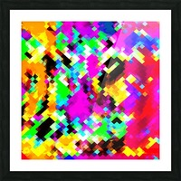 psychedelic geometric pixel abstract pattern in pink purple blue green yellow Picture Frame print