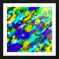 psychedelic geometric square pixel pattern abstract in green yellow blue purple Picture Frame print