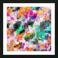 psychedelic geometric square pixel pattern abstract in orange green pink blue Picture Frame print