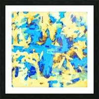 splash painting texture abstract background in blue and yellow Picture Frame print