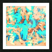 splash painting texture abstract background in blue and orange Picture Frame print