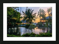 Multicolored tropical dawn with pond and palm trees, white pelican Picture Frame print