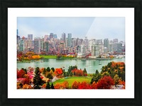 colorful autumn landscape of a modern city by the river Picture Frame print