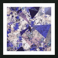 psychedelic geometric triangle polygon pattern abstract in blue and pink Picture Frame print