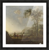 Landscape with herdsman and cattle Picture Frame print
