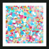 geometric square pixel pattern abstract background in blue pink orange green Picture Frame print