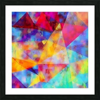 vintage psychedelic triangle polygon pattern abstract in orange yellow red blue purple Picture Frame print