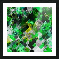 vintage psychedelic geometric square pixel pattern abstract in green and yellow Picture Frame print