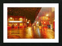 Wet streets by night Picture Frame print