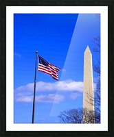 Flag & Washington Monument Picture Frame print