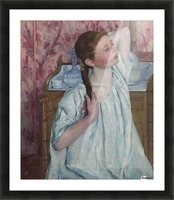 Girl Arranging Her Hair Picture Frame print