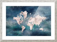 Map Green Picture Frame print