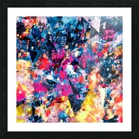 psychedelic geometric triangle pattern abstract in blue pink red yellow Picture Frame print