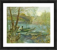 Angler and boat at the Pont de Clichy by Van Gogh Picture Frame print