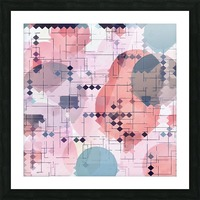 geometric square pixel pattern abstract with circle pattern background in red pink blue Picture Frame print