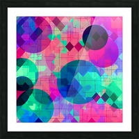 geometric square pixel and circle pattern abstract in pink blue green Picture Frame print