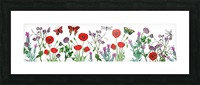 Wildflowers Field With Red Poppies Clover Lavender And Butterflies Picture Frame print