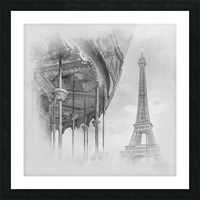 Typical Paris   monochrome watercolor Picture Frame print
