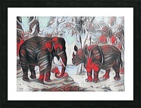 Elephant And Rhinoceros_On A Cold Rain_OSG Picture Frame print