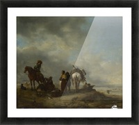A View on a Seashore with Fishwives offering Fish to a Horseman Picture Frame print