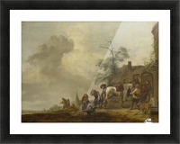 A Horse being Shod outside a Village Smithy Picture Frame print