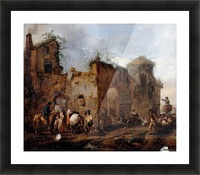Courtyard with a Farrier shoeing a Horse Picture Frame print