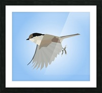 WILLOW TIT BIRD LOW POLY ART Picture Frame print