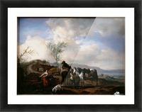 Two Horsemen near a Fountain Picture Frame print
