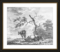 Two Cows Near The Fence_OSG Picture Frame print