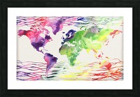 Colorful Wave Of Watercolour World Map Picture Frame print