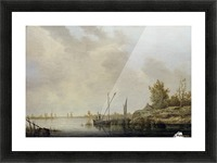 A River Scene with Distant Windmills Picture Frame print
