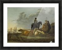 Peasants and Cattle by the River Merwede Picture Frame print