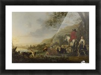 A Hilly Landscape with Figures Picture Frame print