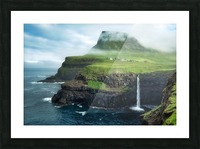 Múlafossur Waterfall Picture Frame print