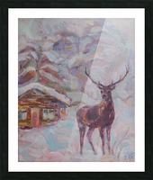Deer and Hut Picture Frame print