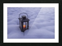Lantern in the snow Picture Frame print