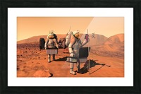 Artists concept of astronauts setting up weather monitoring equipment on Mars. Picture Frame print