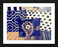 Three Pillows -- blue & brown Picture Frame print
