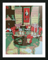 The Striped Sofa -- Red & Verdigris Picture Frame print