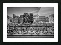 AMSTERDAM Singel Canal with Flower Market | monochrome Picture Frame print