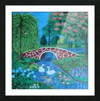 bridge and lake Picture Frame print
