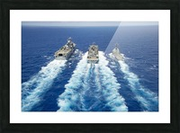 USS Peleliu and USS Spruance conduct a replenishment at sea with USNS Rainier. Picture Frame print