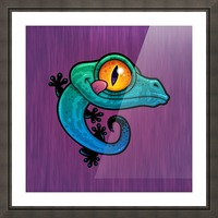 Cute Colorful Cartoon Gecko Picture Frame print