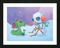 Snowman and Dragon Picture Frame print