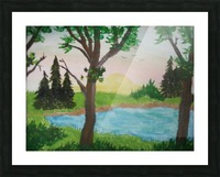 Sunset over the pond Picture Frame print