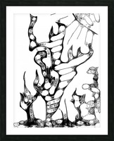 Cactus Sunrise Cartoon Sketch Picture Frame print